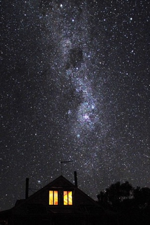 A starry winters night over the cottage.